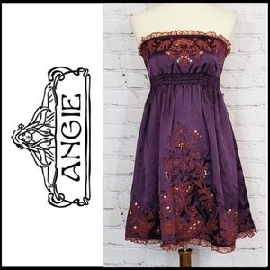 EUC ANGIE Strapless Embroidered Mini Dress, M
